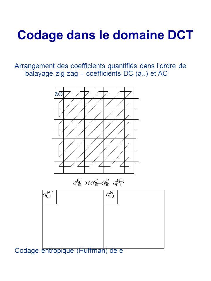 Codage dans le domaine DCT a 00 Arrangement des coefficients quantifiés dans lordre de balayage zig-zag – coefficients DC (a 00 ) et AC Codage entropi