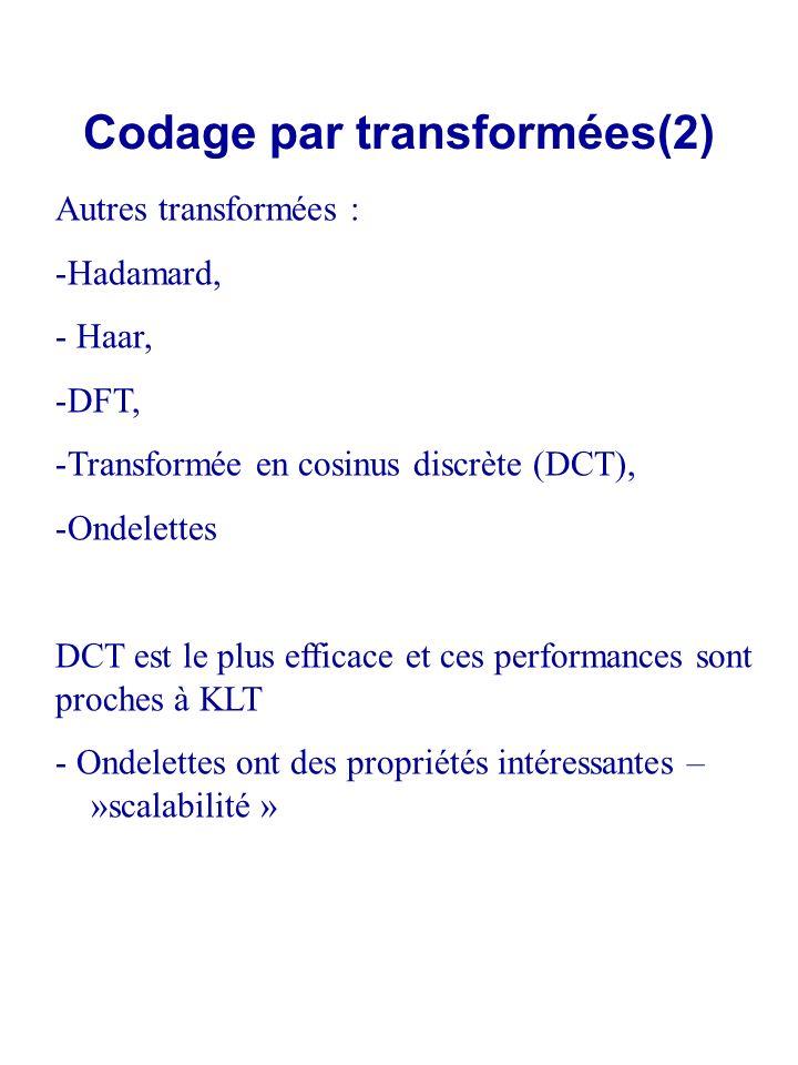 Codage par transformées(2) Autres transformées : -Hadamard, - Haar, -DFT, -Transformée en cosinus discrète (DCT), -Ondelettes DCT est le plus efficace