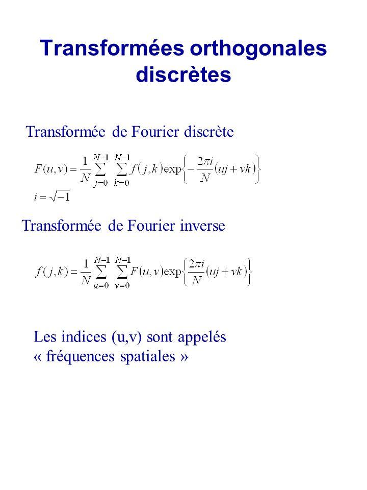 Transformées orthogonales discrètes Transformée de Fourier discrète Transformée de Fourier inverse Les indices (u,v) sont appelés « fréquences spatial