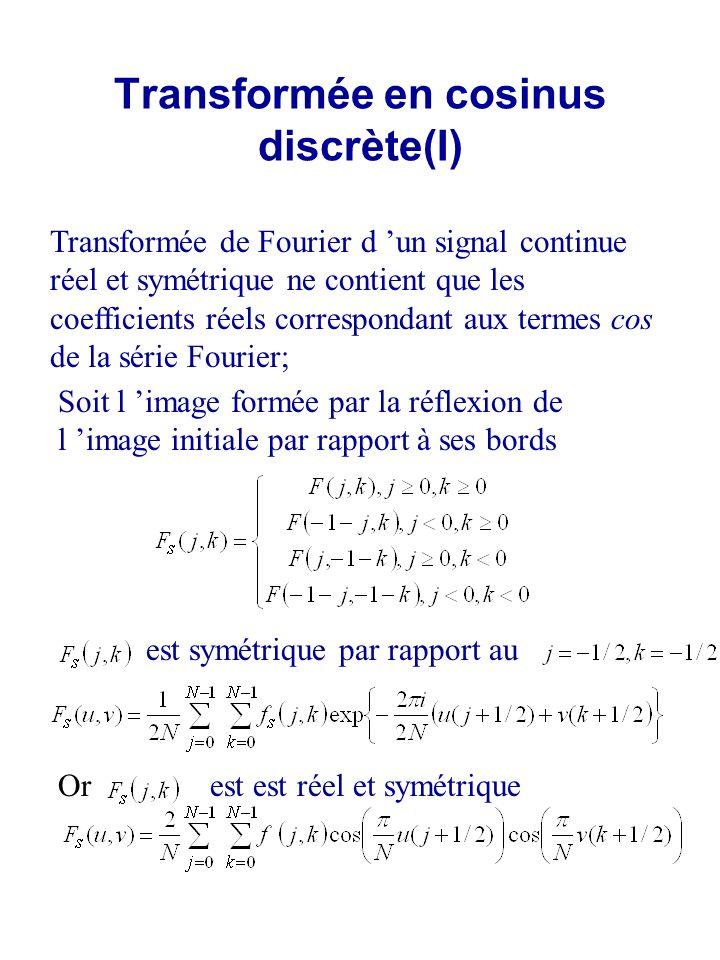 Transformée en cosinus discrète(II) - transformée en cosinus discrète « paire » appliquée aux blocs d image 8x8 dans le standard JPEG Ici f(x,y) est le signal centré avec g 0 = 128 coefficent « DC » vs « AC »
