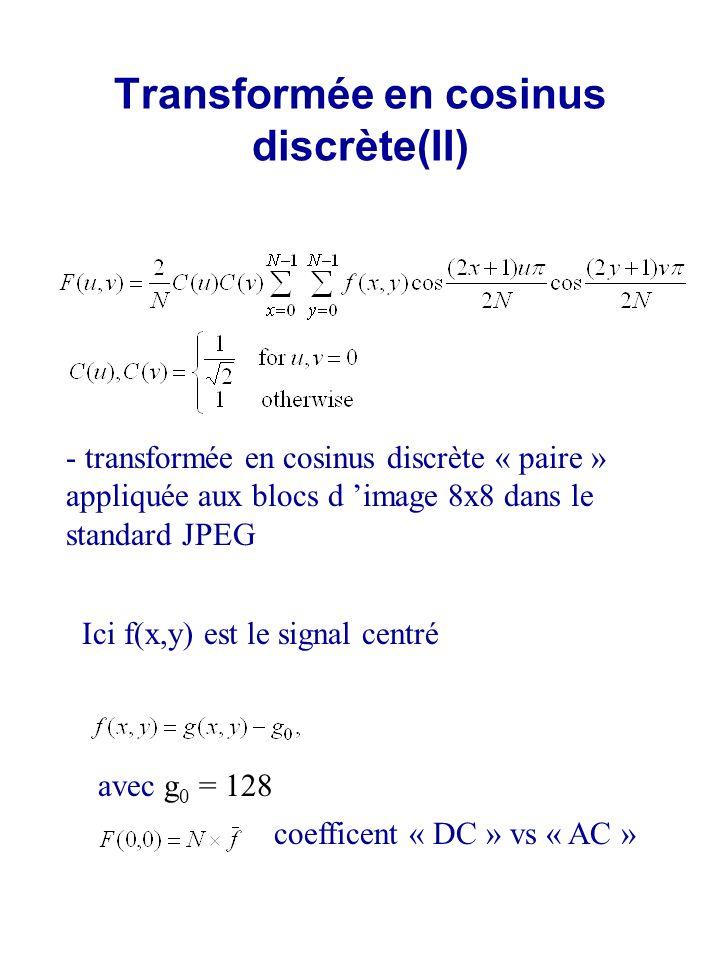 Transformée en cosinus discrète(II) - transformée en cosinus discrète « paire » appliquée aux blocs d image 8x8 dans le standard JPEG Ici f(x,y) est l