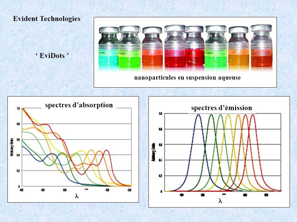 Evident Technologies nanoparticules en suspension aqueuse EviDots spectres dabsorption spectres démission