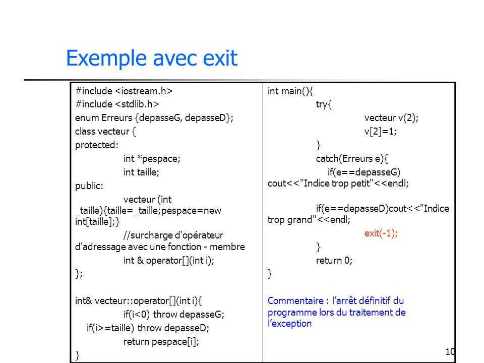 10 Exemple avec exit #include enum Erreurs {depasseG, depasseD}; class vecteur { protected: int *pespace; int taille; public: vecteur (int _taille){taille=_taille;pespace=new int[taille];} //surcharge d opérateur d adressage avec une fonction - membre int & operator[](int i); }; int& vecteur::operator[](int i){ if(i<0) throw depasseG; if(i>=taille) throw depasseD; return pespace[i]; } int main(){ try{ vecteur v(2); v[2]=1; } catch(Erreurs e){ if(e==depasseG) cout<< Indice trop petit <<endl; if(e==depasseD)cout<< Indice trop grand <<endl; exit(-1); } return 0; } Commentaire : larrêt définitif du programme lors du traitement de lexception