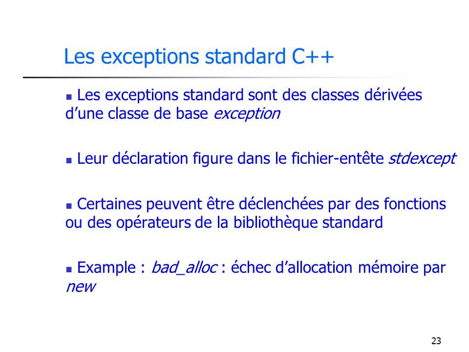 23 Les exceptions standard C++ Les exceptions standard sont des classes dérivées dune classe de base exception Leur déclaration figure dans le fichier-entête stdexcept Certaines peuvent être déclenchées par des fonctions ou des opérateurs de la bibliothèque standard Example : bad_alloc : échec dallocation mémoire par new