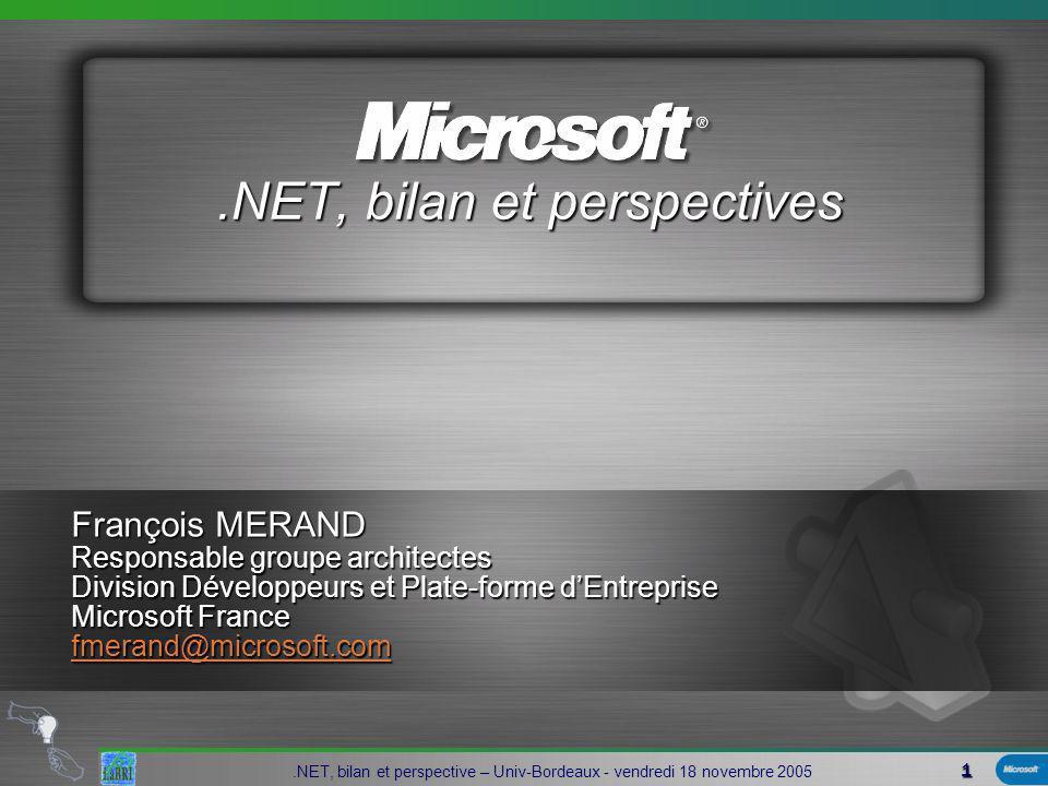 32.NET, bilan et perspective – Univ-Bordeaux - vendredi 18 novembre 2005 Base Class Library Windows Forms COM+ Services ASP.NETADO.NETAutres OS Microsoft… Common Language Runtime Appli Browser Appli Services Web Autres Applis Appli Locale.NET Framework Le FrameWork.NET : interopérabilité !