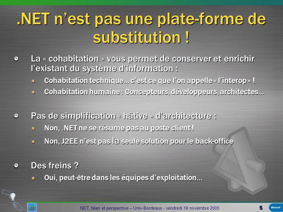 36.NET, bilan et perspective – Univ-Bordeaux - vendredi 18 novembre 2005 Compiler AssemblyDEVELOPMENTC#J#VBCobol… MSILMetadataResources public static void Main(String[] args ) { String usr; FileStream f; StreamWriter w; try { usr=Environment.GetEnvironmentVariable( USERNAME ); f=new FileStream(C:\\test.txt ,FileMode.Create); w=new StreamWriter(f); w.WriteLine(usr); w.Close(); } catch (Exception e){ Console.WriteLine( Exception: +e.ToString()); } public static void Main(String[] args ) { String usr; FileStream f; StreamWriter w; try { usr=Environment.GetEnvironmentVariable( USERNAME ); f=new FileStream(C:\\test.txt ,FileMode.Create); w=new StreamWriter(f); w.WriteLine(usr); w.Close(); } catch (Exception e){ Console.WriteLine( Exception: +e.ToString()); } Source code Application Directory Global Assembly Cache (GAC) Assembly DEVELOPPEMENT DEPLOIEMENT SetupCopyBrowser Download Cache Install Déployer…