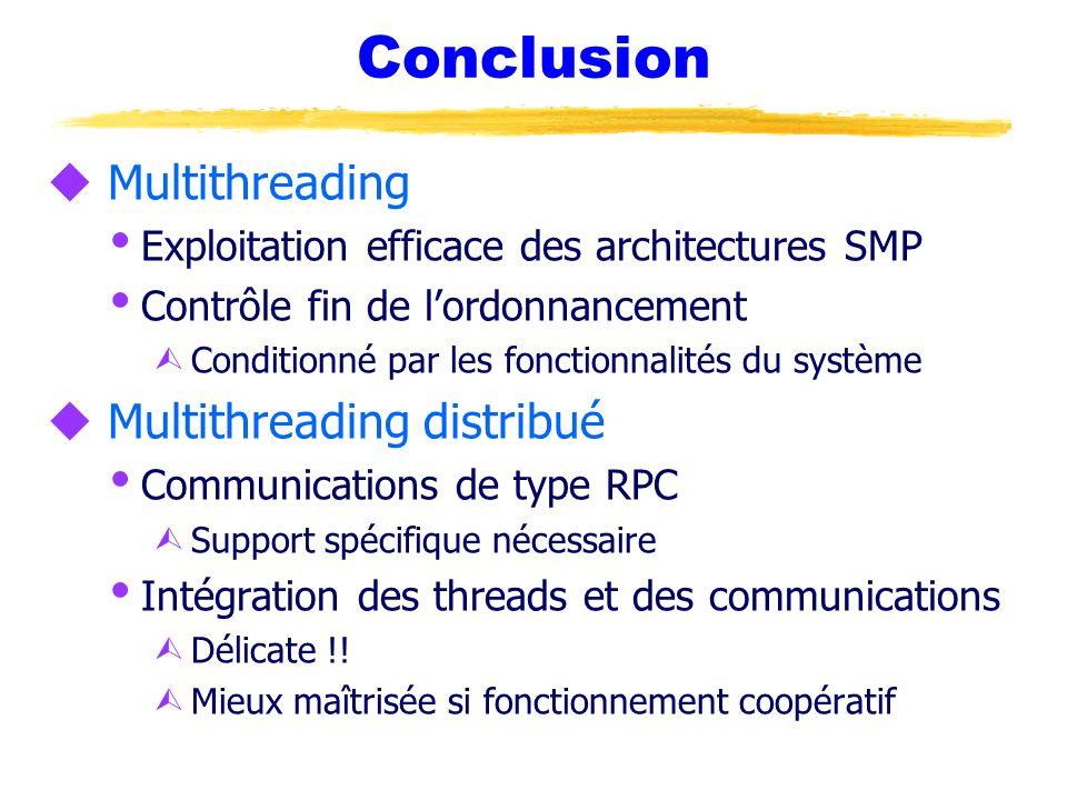 u Multithreading Exploitation efficace des architectures SMP Contrôle fin de lordonnancement Ù Conditionné par les fonctionnalités du système u Multit