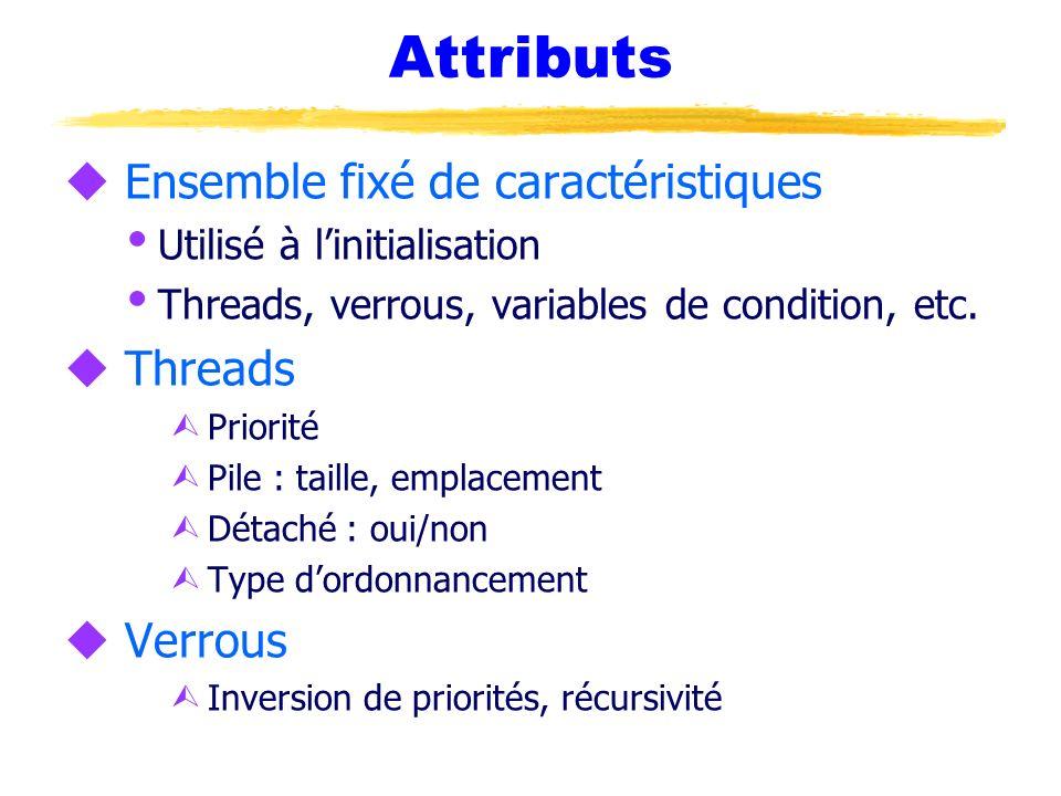 Attributs u Ensemble fixé de caractéristiques Utilisé à linitialisation Threads, verrous, variables de condition, etc. u Threads Ù Priorité Ù Pile : t