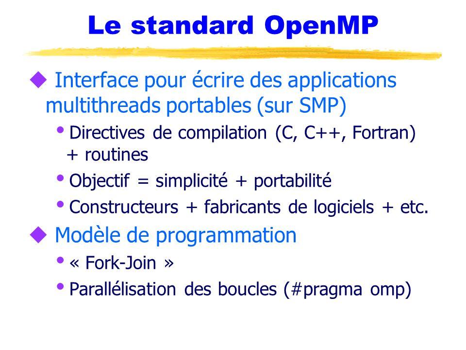 Le standard OpenMP u Interface pour écrire des applications multithreads portables (sur SMP) Directives de compilation (C, C++, Fortran) + routines Ob