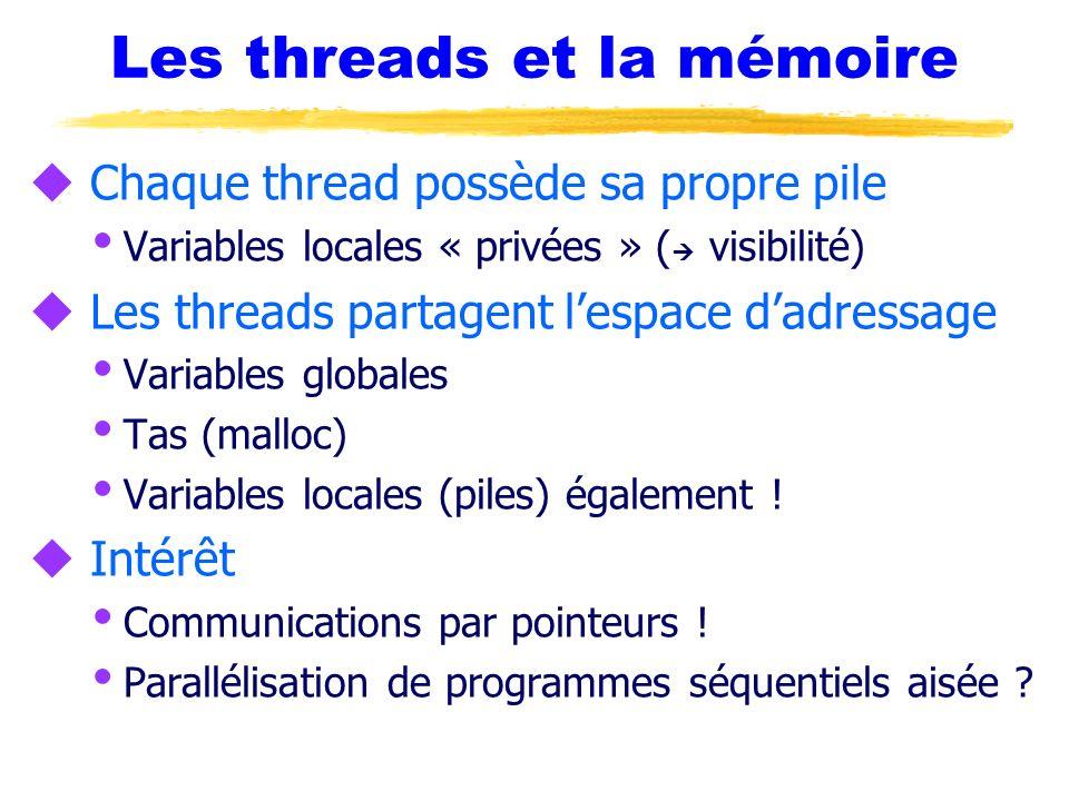 Les threads et la mémoire u Chaque thread possède sa propre pile Variables locales « privées » ( visibilité) u Les threads partagent lespace dadressag
