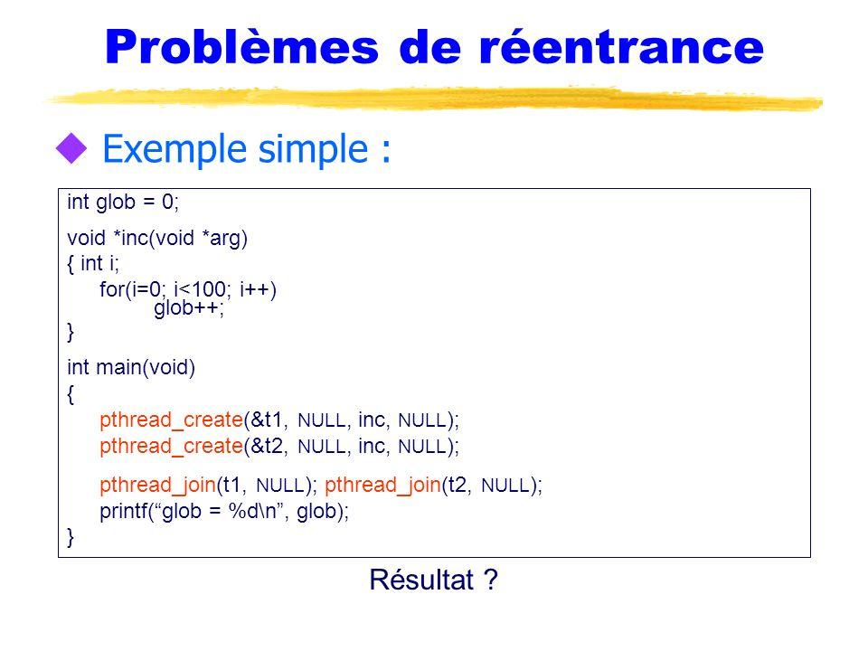Problèmes de réentrance u Exemple simple : int glob = 0; void *inc(void *arg) { int i; for(i=0; i<100; i++) glob++; } int main(void) { pthread_create(