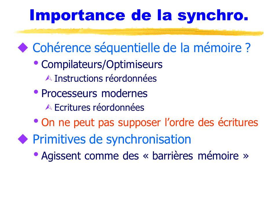 Importance de la synchro. u Cohérence séquentielle de la mémoire ? Compilateurs/Optimiseurs Ù Instructions réordonnées Processeurs modernes Ù Ecriture