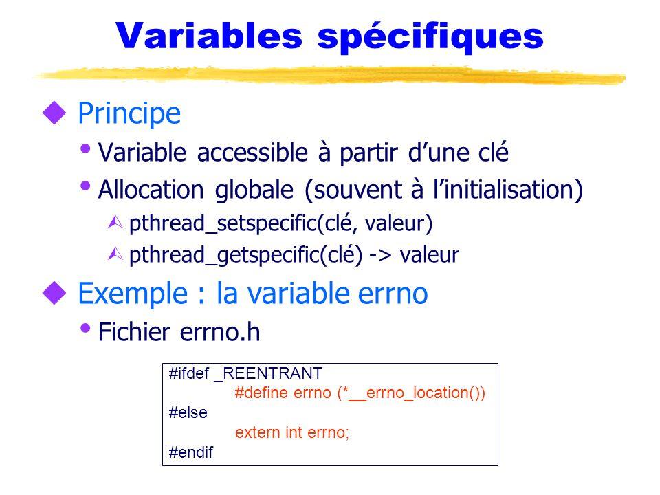 Variables spécifiques u Principe Variable accessible à partir dune clé Allocation globale (souvent à linitialisation) Ù pthread_setspecific(clé, valeu