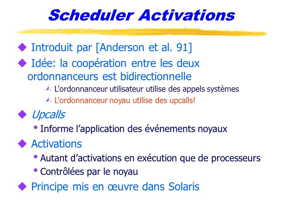Scheduler Activations u Introduit par [Anderson et al. 91] u Idée: la coopération entre les deux ordonnanceurs est bidirectionnelle Ù Lordonnanceur ut