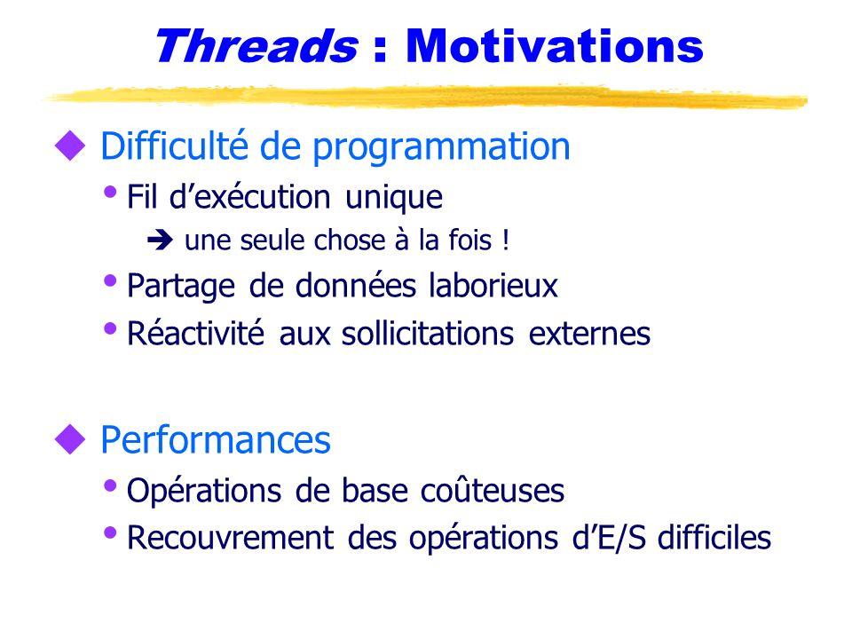 Threads : Motivations u Difficulté de programmation Fil dexécution unique une seule chose à la fois ! Partage de données laborieux Réactivité aux soll