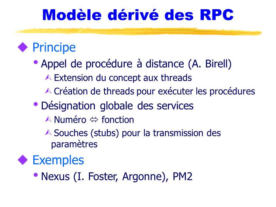 Modèle dérivé des RPC u Principe Appel de procédure à distance (A. Birell) Ù Extension du concept aux threads Ù Création de threads pour exécuter les