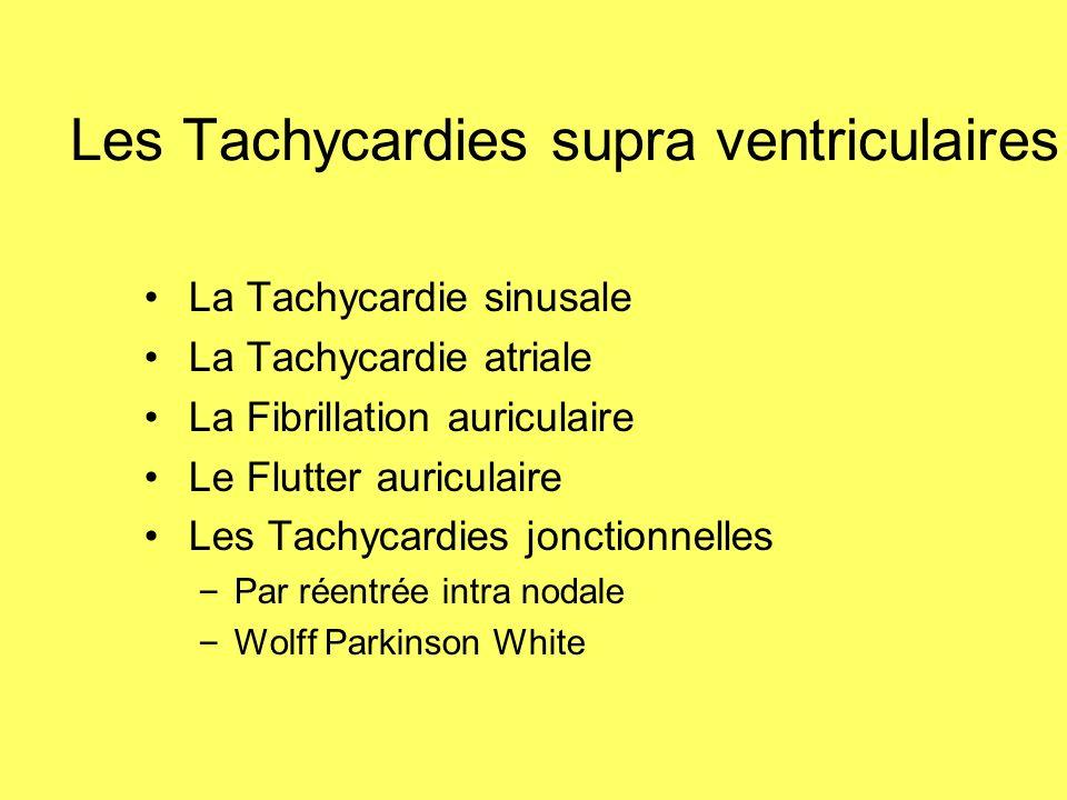 Les Tachycardies supra ventriculaires La Tachycardie sinusale La Tachycardie atriale La Fibrillation auriculaire Le Flutter auriculaire Les Tachycardi