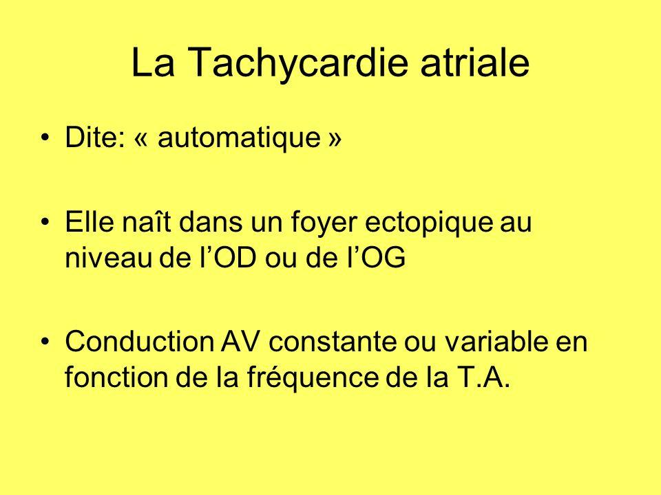 La Tachycardie atriale Dite: « automatique » Elle naît dans un foyer ectopique au niveau de lOD ou de lOG Conduction AV constante ou variable en fonct