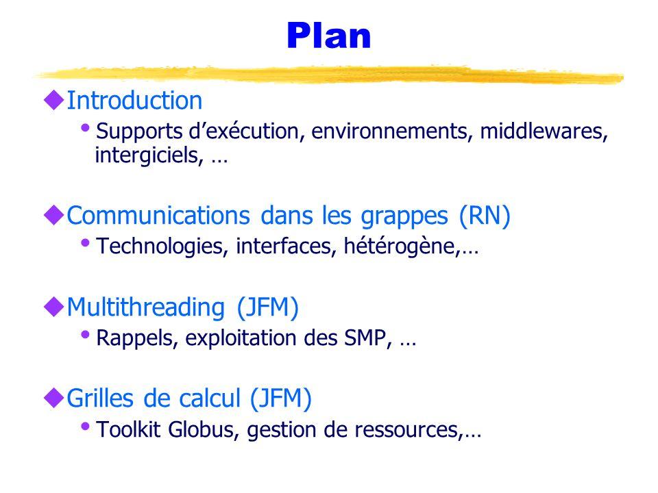 Portabilité u Bibliothèques de haut niveau MPI Ù Pas adapté aux interactions de type « RPC » u Bibliothèques de bas niveau BIP (Myrinet), SISCI (SCI), GAMMA (Ethernet) Ù Paradigmes très différents .