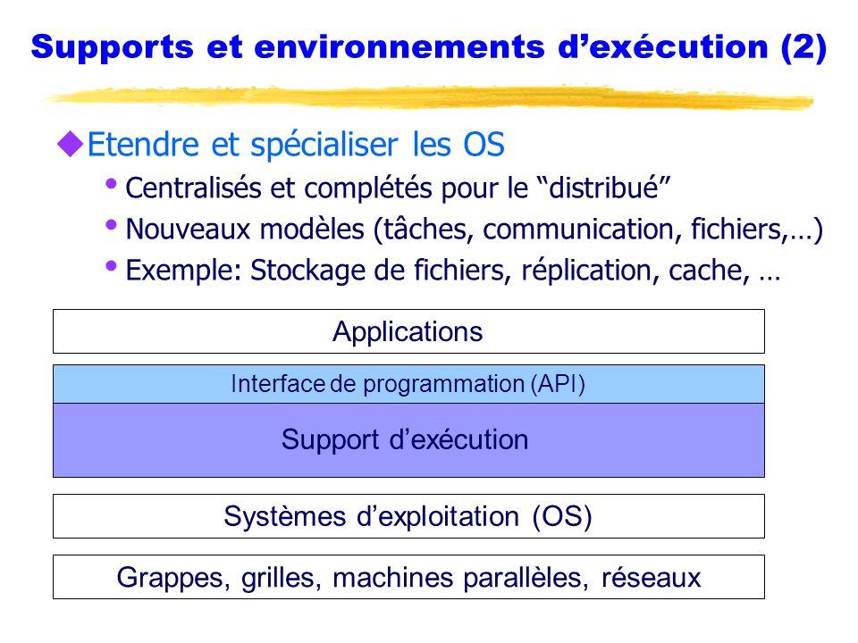 Syntaxe RSL uForme élémentaire : clauses parenthésées (attribut op valeur [ valeur … ] ) uOpérateurs supportés: =, >, != uQuelques attributs supportés : exécutable, arguments, environnement, stdin, stdout, stderr, resourceManagerContact, resourceManagerName uLes attributs inconnus sont ignorés Peut-être gérés par dautres outils