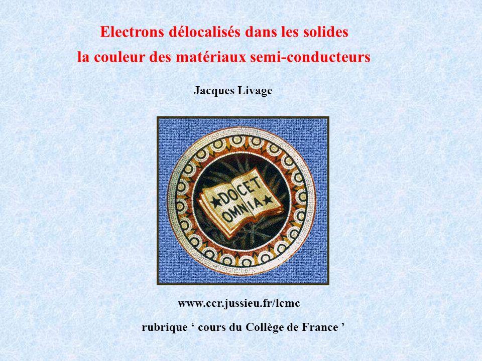 Jacques Livage Collège de France www.ccr.jussieu.fr/lcmc rubrique cours du Collège de France Electrons délocalisés dans les solides la couleur des mat