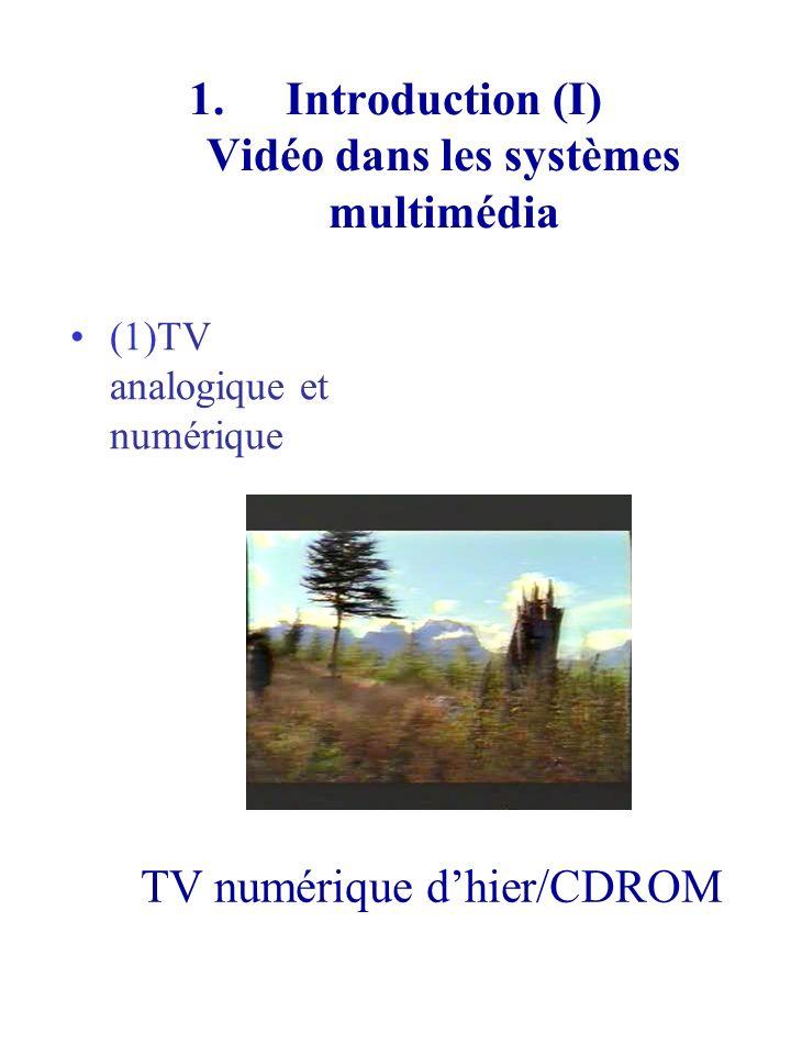 1.Introduction (II) Vidéo dans les systèmes multimédia (2) TV numérique daujourdhui /DVD ExempleExemple de la vidéo DVD