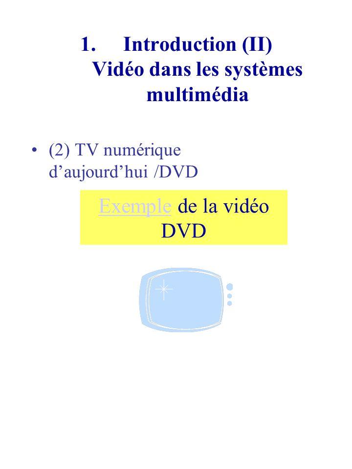 1.Introduction (II) Vidéo dans les systèmes multimédia (2) TV HD