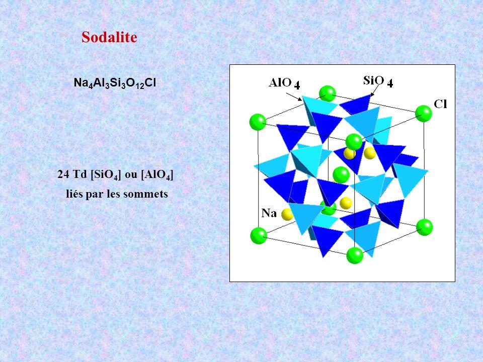 Sodalite Na 4 Al 3 Si 3 O 12 Cl 24 Td [SiO 4 ] ou [AlO 4 ] liés par les sommets