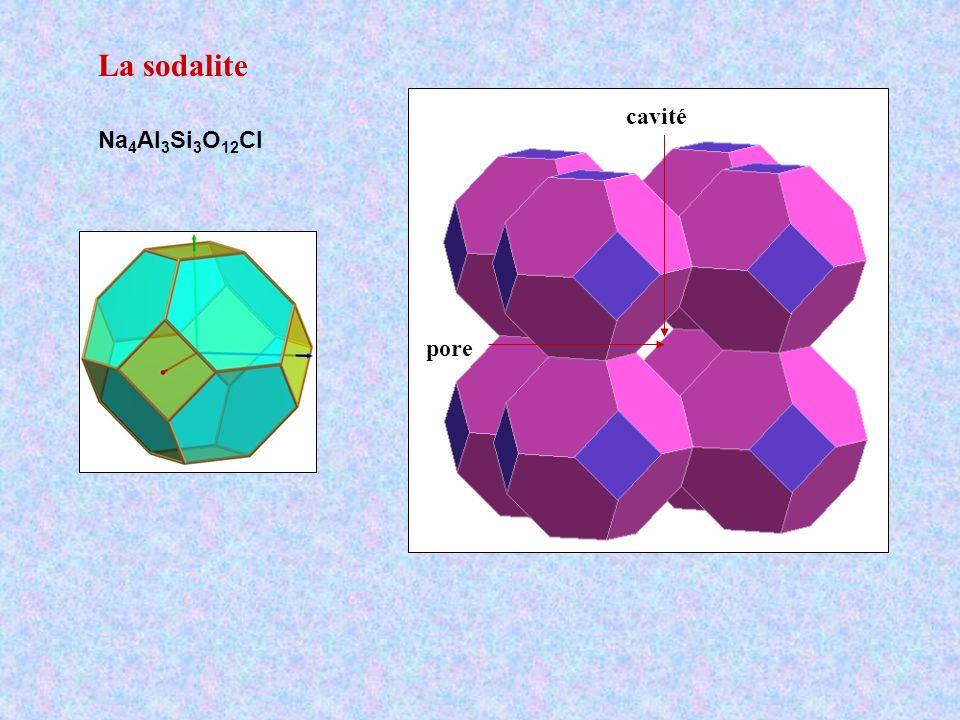 La sodalite Na 4 Al 3 Si 3 O 12 Cl pore cavité