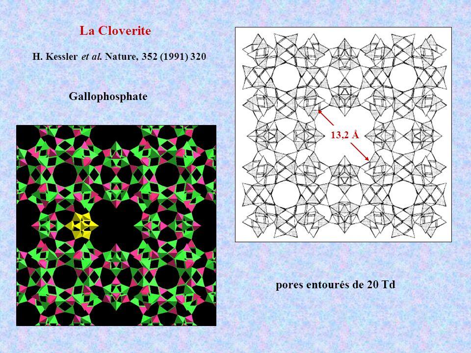 La Cloverite H. Kessler et al. Nature, 352 (1991) 320 Gallophosphate 13,2 Å pores entourés de 20 Td