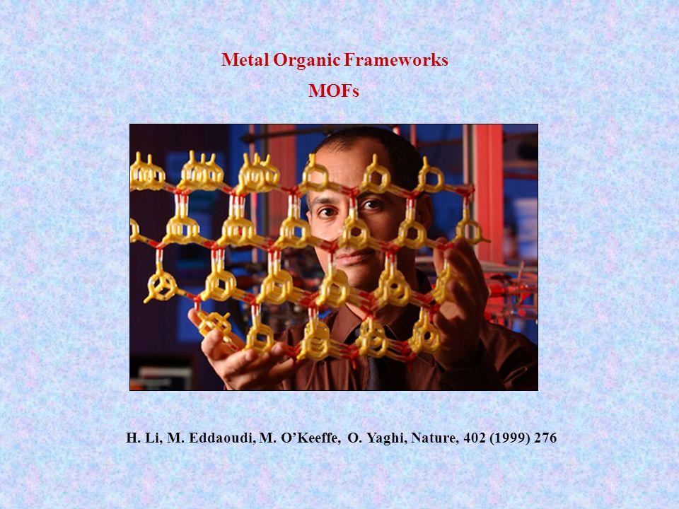 H. Li, M. Eddaoudi, M. OKeeffe, O. Yaghi, Nature, 402 (1999) 276 Metal Organic Frameworks MOFs