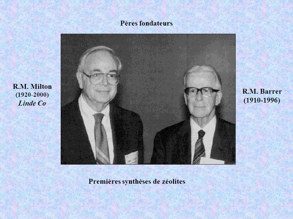 Pères fondateurs R.M. Barrer (1910-1996) R.M. Milton (1920-2000) Linde Co Premières synthèses de zéolites