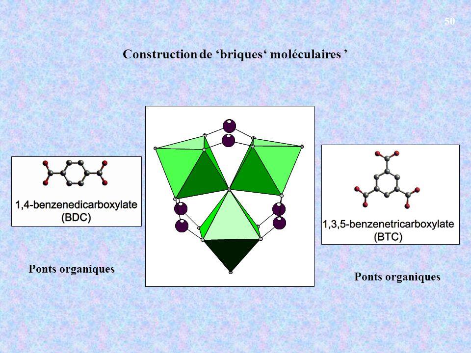 Construction de briques moléculaires Ponts organiques 50