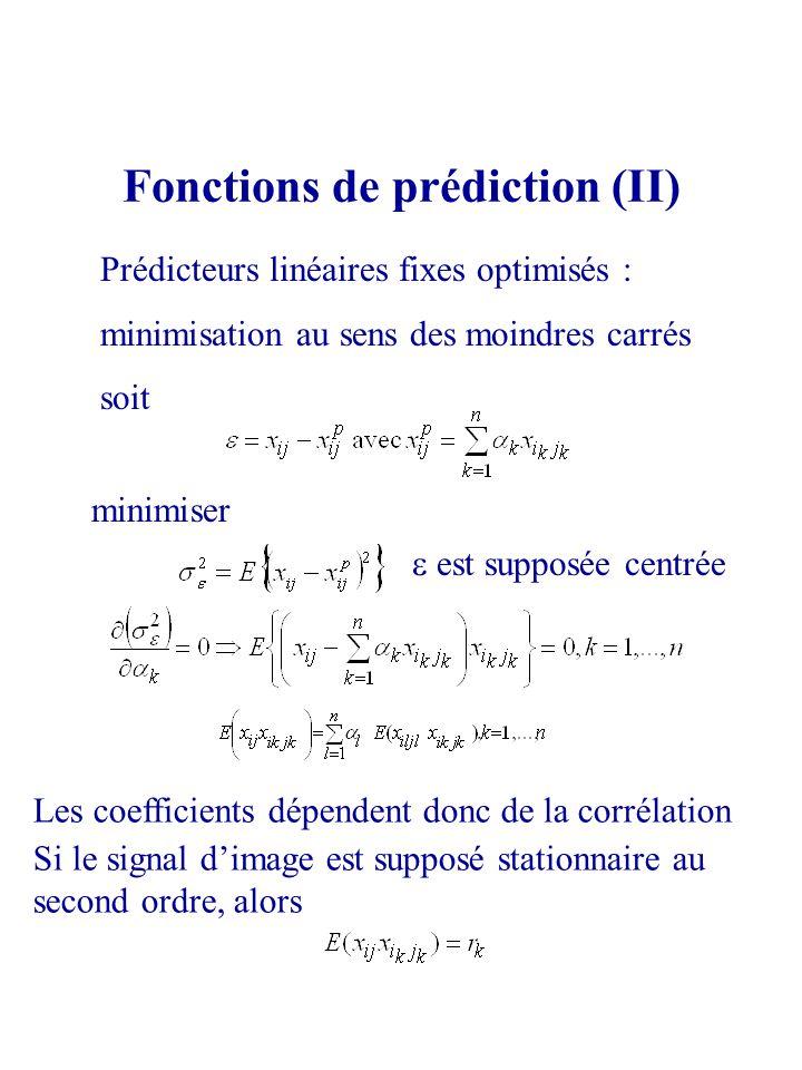 Fonctions de prédiction (II) Prédicteurs linéaires fixes optimisés : minimisation au sens des moindres carrés soit minimiser est supposée centrée Si l