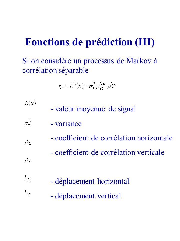 Fonctions de prédiction (III) Si on considère un processus de Markov à corrélation séparable - valeur moyenne de signal - variance - coefficient de co