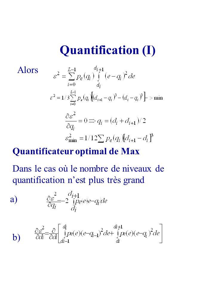 Quantification (I) Alors Quantificateur optimal de Max Dans le cas où le nombre de niveaux de quantification nest plus très grand a) b)