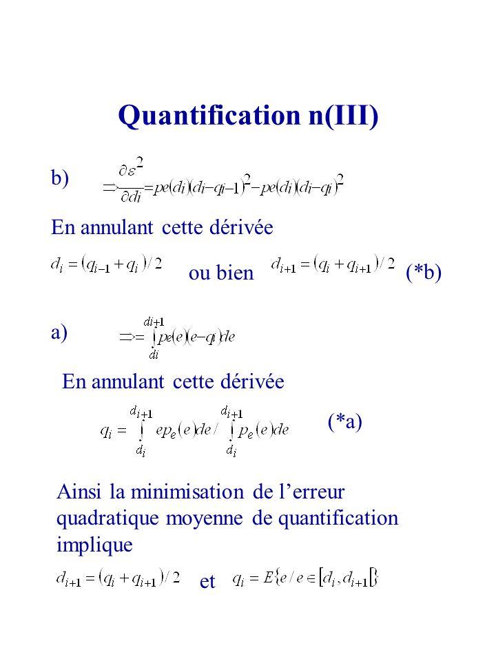 Quantification n(III) b) En annulant cette dérivée ou bien a) En annulant cette dérivée Ainsi la minimisation de lerreur quadratique moyenne de quanti
