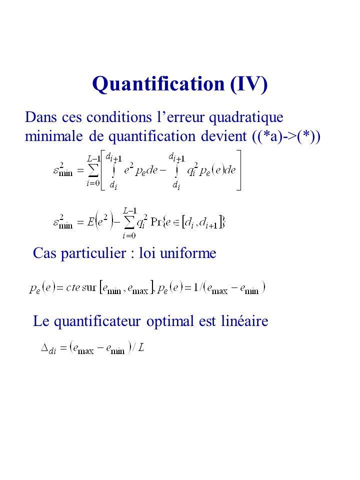 Quantification (IV) Dans ces conditions lerreur quadratique minimale de quantification devient ((*a)->(*)) Cas particulier : loi uniforme Le quantific