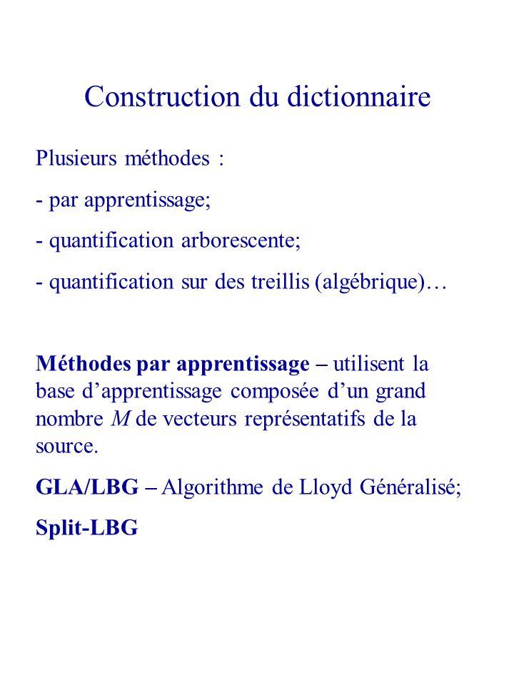 Plusieurs méthodes : - par apprentissage; - quantification arborescente; - quantification sur des treillis (algébrique)… Méthodes par apprentissage –