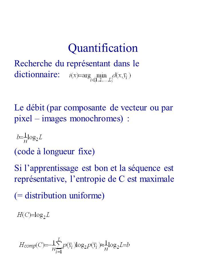 Recherche du représentant dans le dictionnaire: Le débit (par composante de vecteur ou par pixel – images monochromes) : (code à longueur fixe) Si lap
