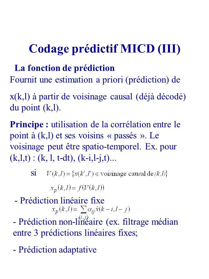 Codage prédictif MICD (III) La fonction de prédiction Fournit une estimation a priori (prédiction) de x(k,l) à partir de voisinage causal (déjà décodé