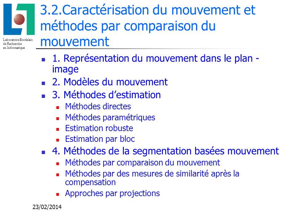 Laboratoire Bordelais de Recherche en Informatique 23/02/2014 3.2.Caractérisation du mouvement et méthodes par comparaison du mouvement 1. Représentat