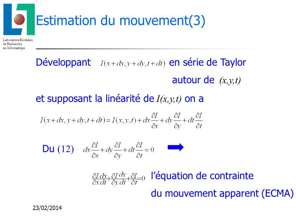 Laboratoire Bordelais de Recherche en Informatique 23/02/2014 Estimation du mouvement(3) Développanten série de Taylor autour de (x,y,t) et supposant