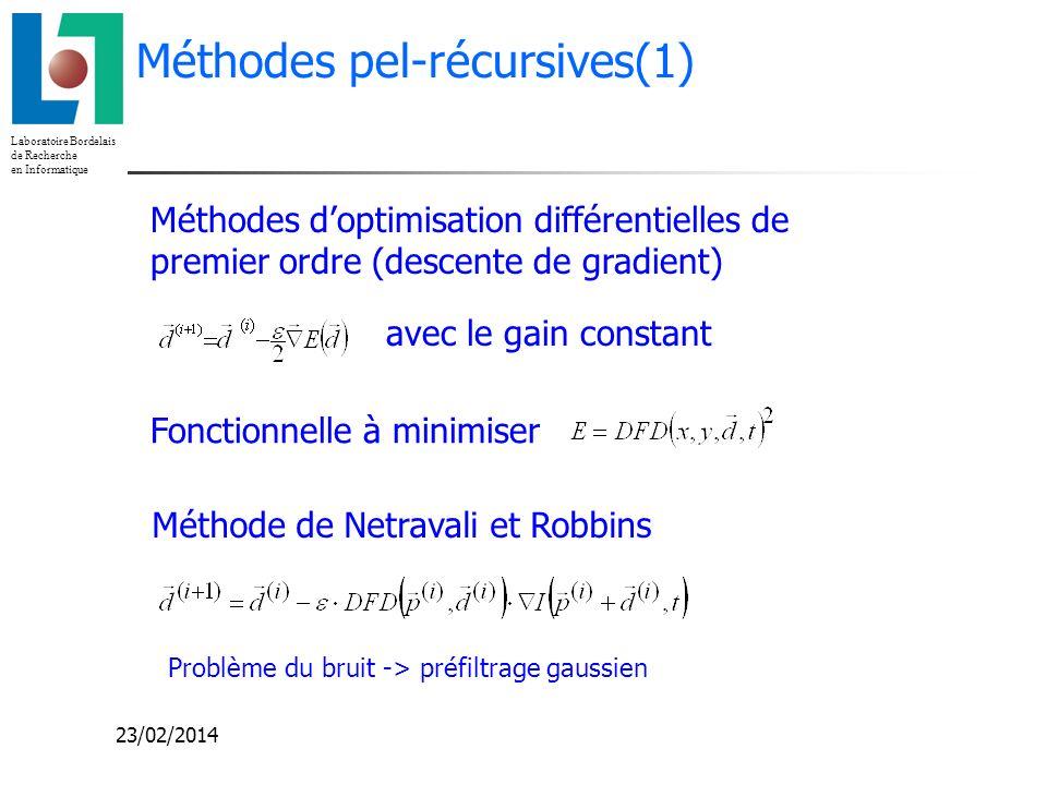 Laboratoire Bordelais de Recherche en Informatique 23/02/2014 Méthodes pel-récursives(1) Méthode de Netravali et Robbins Fonctionnelle à minimiser ave
