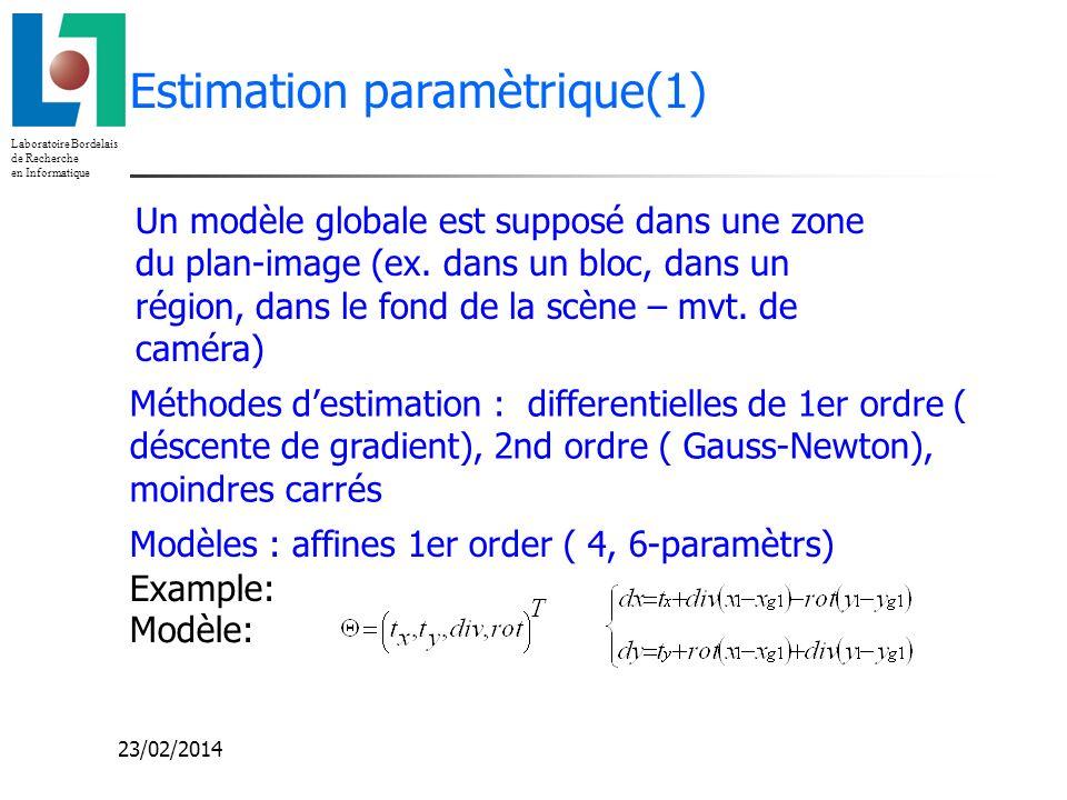 Laboratoire Bordelais de Recherche en Informatique 23/02/2014 Estimation paramètrique(1) Modèles : affines 1er order ( 4, 6-paramètrs) Méthodes destim
