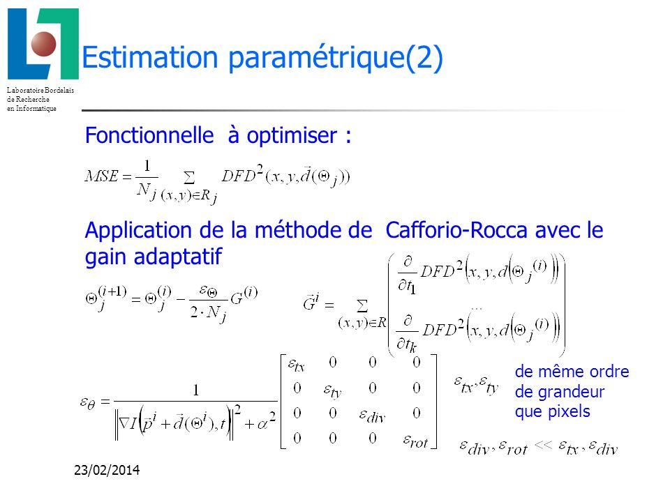Laboratoire Bordelais de Recherche en Informatique 23/02/2014 Estimation paramétrique(2) Fonctionnelle à optimiser : Application de la méthode de Caff