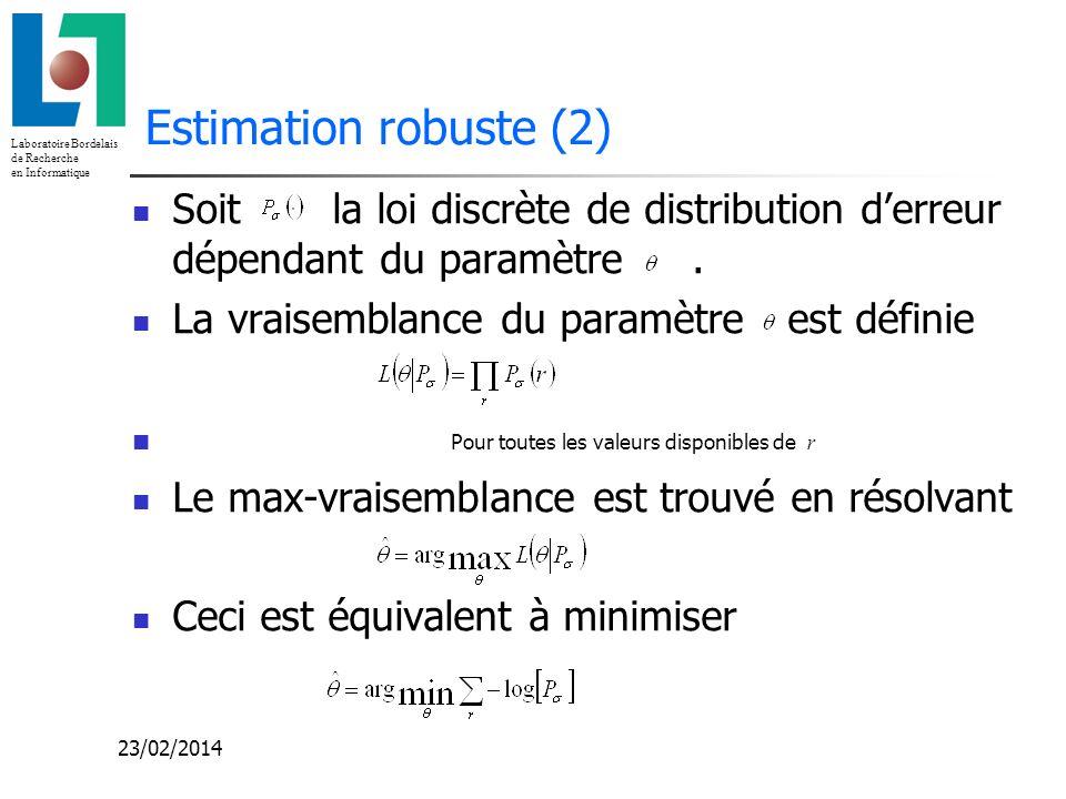 Laboratoire Bordelais de Recherche en Informatique 23/02/2014 Estimation robuste (2) Soit la loi discrète de distribution derreur dépendant du paramèt