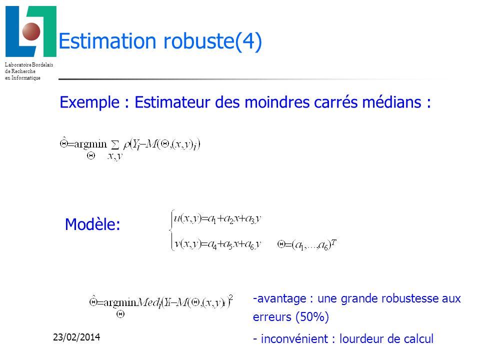 Laboratoire Bordelais de Recherche en Informatique 23/02/2014 Estimation robuste(4) Modèle: Exemple : Estimateur des moindres carrés médians : -avanta