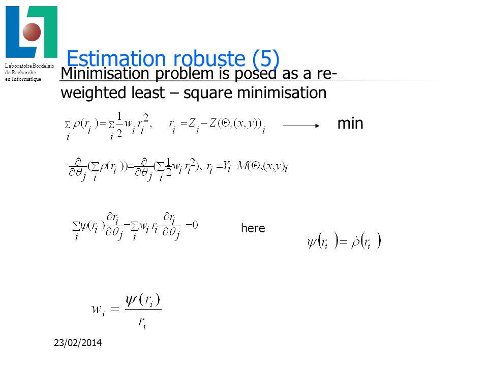 Laboratoire Bordelais de Recherche en Informatique 23/02/2014 Minimisation problem is posed as a re- weighted least – square minimisation Estimation r