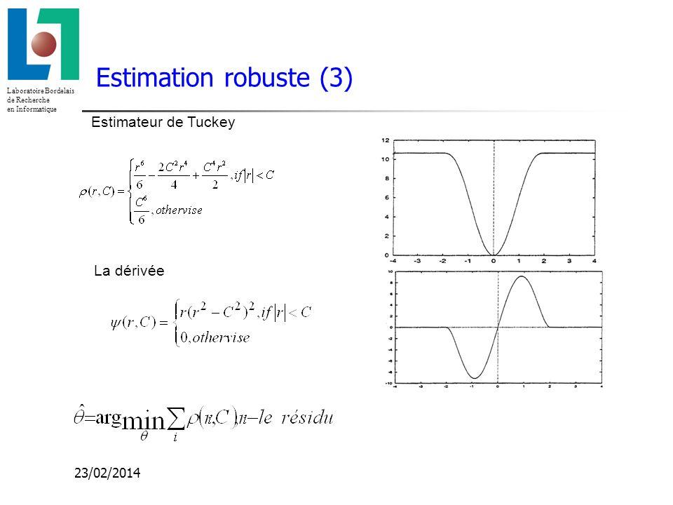 Laboratoire Bordelais de Recherche en Informatique 23/02/2014 Estimateur de Tuckey La dérivée Estimation robuste (3)